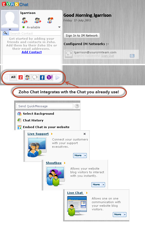 Zoho chat capabilities